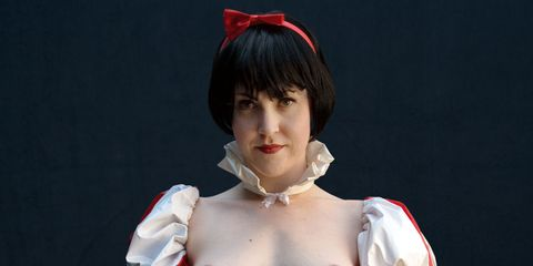 Hairstyle, Chin, Neck, Bangs, Hime cut, Mouth, Costume, Human body, Cosplay, Flesh,