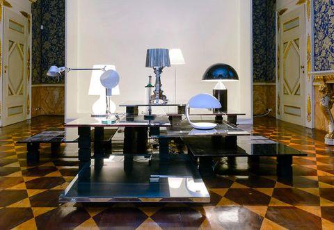 Floor, Interior design, Room, Flooring, Door, Table, Interior design, Lamp, Tile, Lampshade,