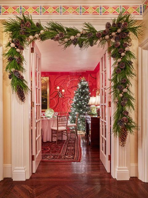 hallway with christmas tree