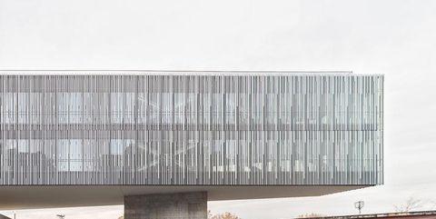 Commercial building, Composite material, Concrete, Urban design, Rectangle, Shade, Column, Headquarters,