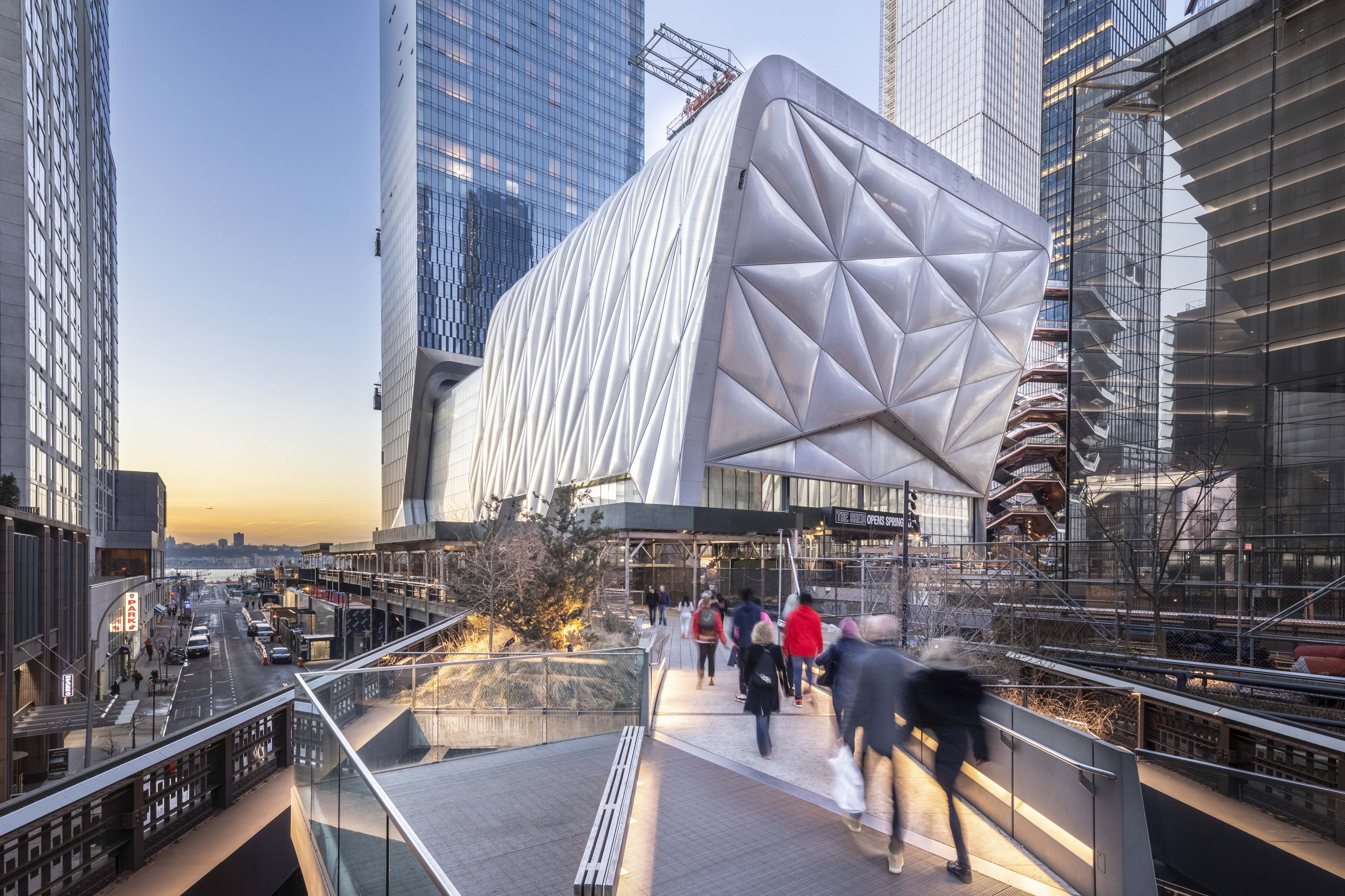 The Shed, a new arts center opening April 5 in Manhattan, is as interesting outside as in. The $475 million building was designed by Diller Scofidio + Renfro and the Rockwell Group.