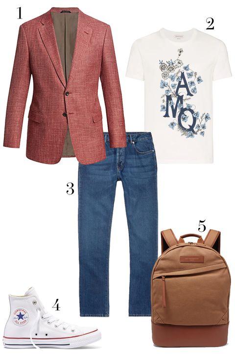 giorgio armani blazer, alexander mcqueen flower t shirt, converse sneaker, officine generale denim, want les essentials backpack