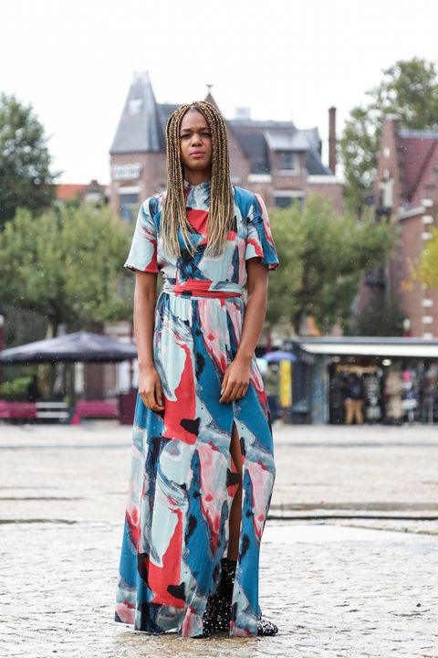 Street fashion, Clothing, Blue, Turquoise, Fashion, Footwear, Dress, Electric blue, Summer, Costume,