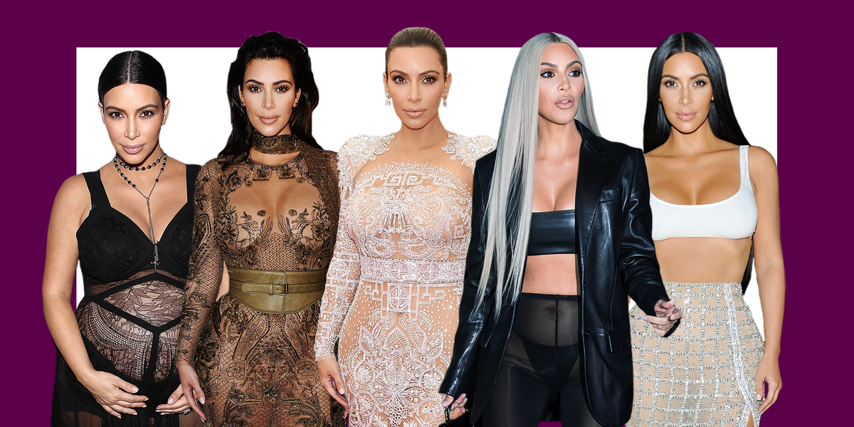 Kim Kardashian Wears Nude Dress With Thigh-High Slit