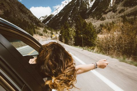 Hair, Beauty, Road, Yellow, Tree, Vacation, Infrastructure, Summer, Long hair, Mountain,
