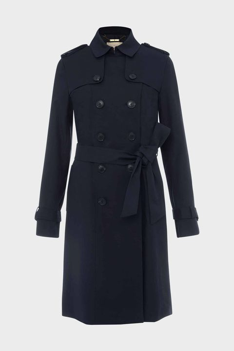 hobbs navy blue trench coat