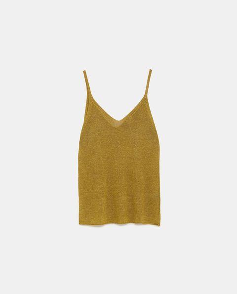Clothing, Yellow, camisoles, Crop top, Outerwear, Beige, Sleeveless shirt, Neck, T-shirt, Dress,