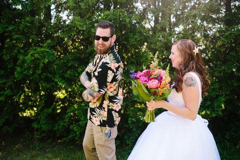 Photograph, Ceremony, Wedding, Bride, Wedding dress, Event, Marriage, Pink, Dress, Botany,