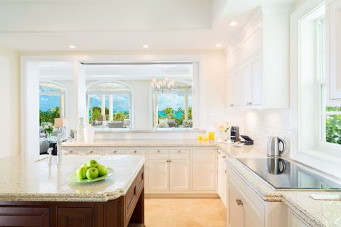 Countertop, Room, Property, White, Kitchen, Cabinetry, Green, Furniture, Interior design, Home,