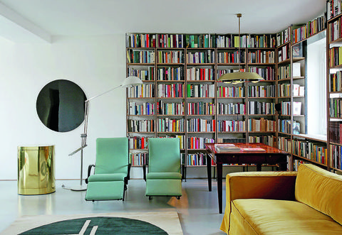 Room, Interior design, Shelf, Shelving, Furniture, Wall, Bookcase, Publication, Couch, Floor,