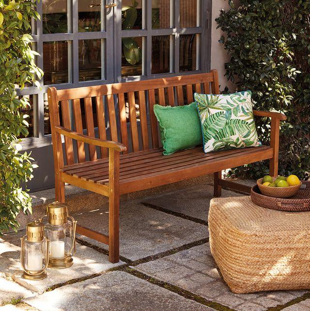 banco de jardín de madera de acacia