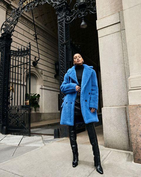 max mara blue coat teddy