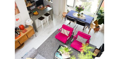Room, Property, Interior design, Living room, Furniture, Table, Floor, House, Home, Building,