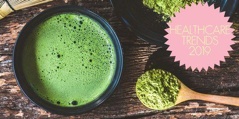 Matcha, Green, Aojiru, Superfood, Vegetable juice, Broccoli, Food, Green sauce, Drink, Plant,