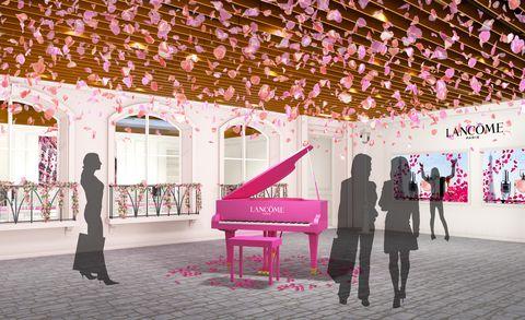 Pink, Magenta, Architecture, Design, Tree, Plant, Flower, Leisure, Illustration, Interior design,