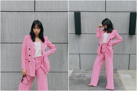 Pink, Clothing, Pajamas, Outerwear, Suit, Nightwear, Pantsuit, Formal wear, Blazer, Street fashion,
