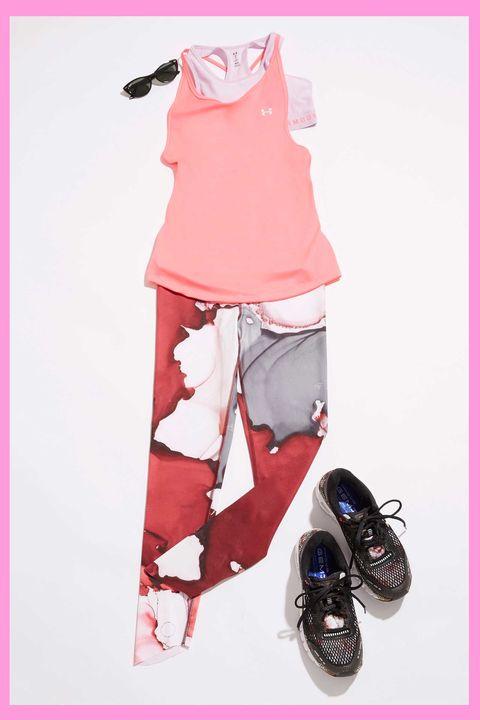Pink, Footwear, Illustration, Fashion illustration, Shoe, Leggings, T-shirt,