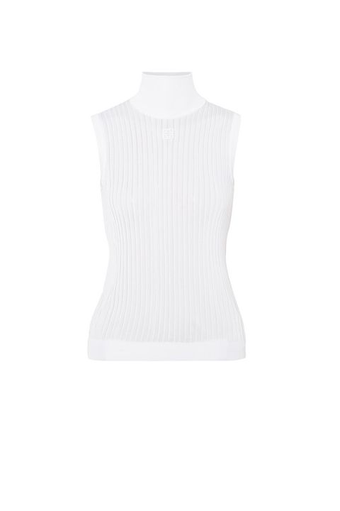 White, Clothing, Neck, Sweater vest, Outerwear, Sleeveless shirt, Sleeve, Collar, Beige, T-shirt,