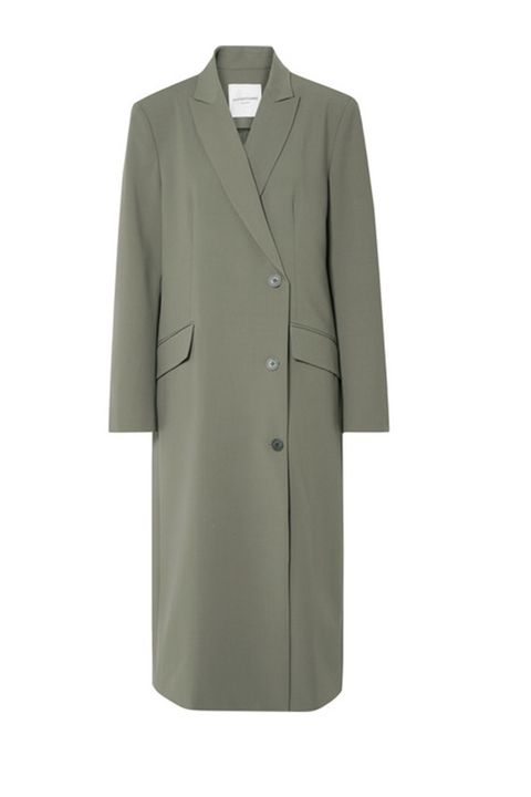 Clothing, Coat, Outerwear, Overcoat, Trench coat, Sleeve, Beige, Jacket, Collar, Suit,