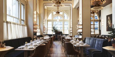 Restaurant, Building, Room, Interior design, Function hall, Table, Architecture, Furniture, Dining room, Ceiling,