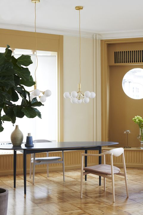 Room, Furniture, Floor, Interior design, Dining room, Table, Property, Yellow, Building, House,