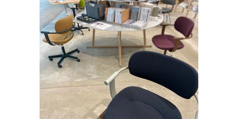 Floor, Flooring, Furniture, Chair, Office chair, Armrest, Material property, Design, Plywood, Desk,