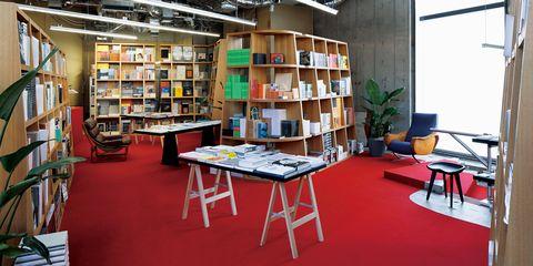 Shelf, Lighting, Room, Interior design, Bookcase, Furniture, Shelving, Table, Publication, Floor,