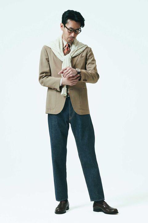 スーツ, ベージュ, ブラウン, ビジネススタイル, スタイル , トラッド, ファッション, メンクラ