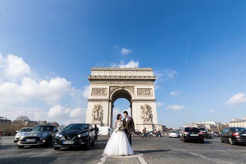 パリ凱旋門での前撮り