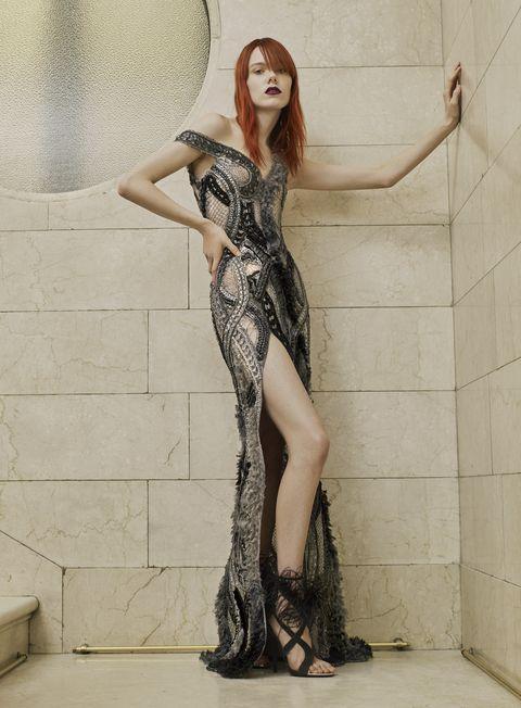 Waist, Fashion model, Long hair, Model, One-piece garment, Costume design, High heels, Fashion illustration, Day dress, Fetish model,