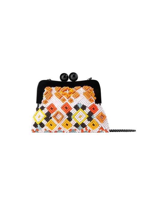 Bag, Orange, Coin purse, Handbag, Beige, Fashion accessory, Shoulder bag, Pattern, Wristlet, Luggage and bags,