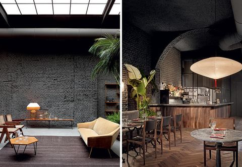 Interior design, Lighting, Wall, Building, Room, Furniture, Architecture, Table, Ceiling, Restaurant,