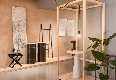 Interior design, Wall, Floor, Ceiling, Interior design, Light fixture, Plywood, Design, Houseplant, Stool,