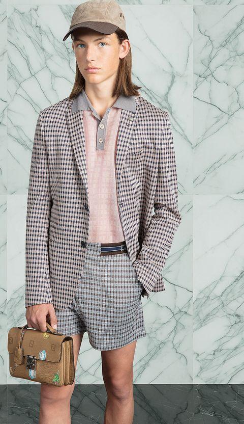 Clothing, Outerwear, Fashion, Shorts, Fashion model, Blazer, Brown, Suit, Dress shirt, Jacket,