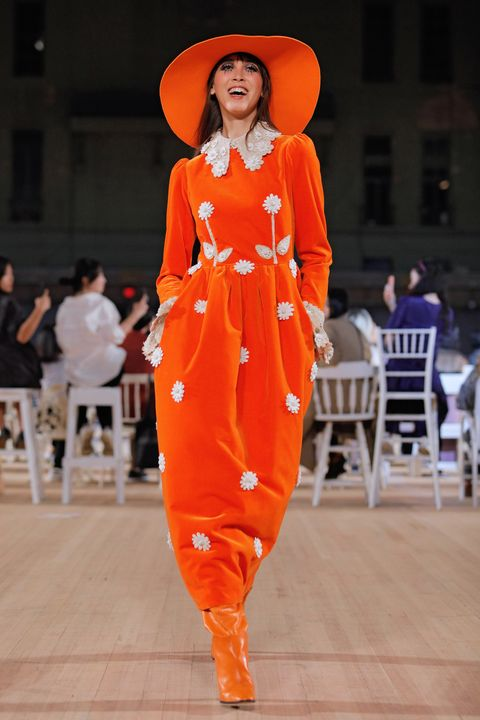 Fashion, Orange, Runway, Fashion show, Fashion model, Fashion design,