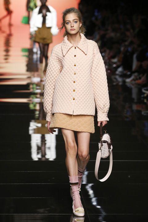 Fashion model, Fashion, Runway, Fashion show, White, Clothing, Street fashion, Shoulder, Footwear, Fashion design,