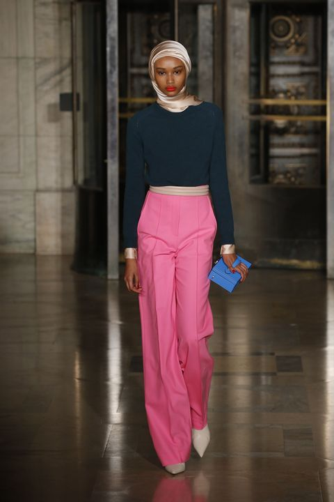 Clothing, Pink, Fashion, Street fashion, Fashion show, Magenta, Trousers, Haute couture, Fashion model, Neck,