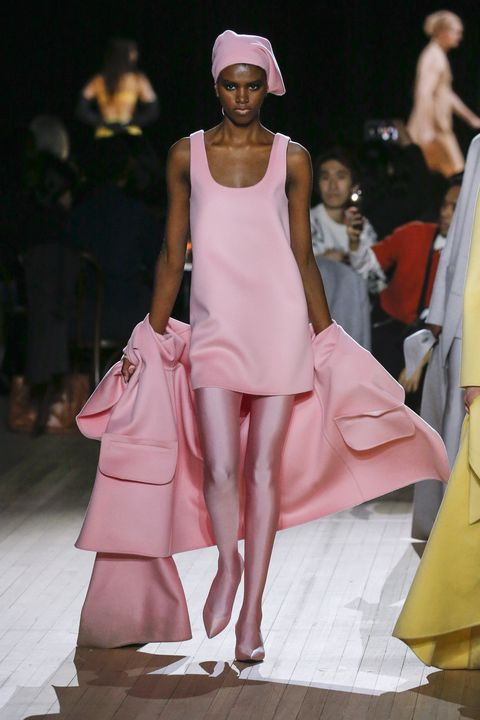 Fashion model, Fashion, Fashion show, Runway, Clothing, Pink, Haute couture, Dress, Fashion design, Event,