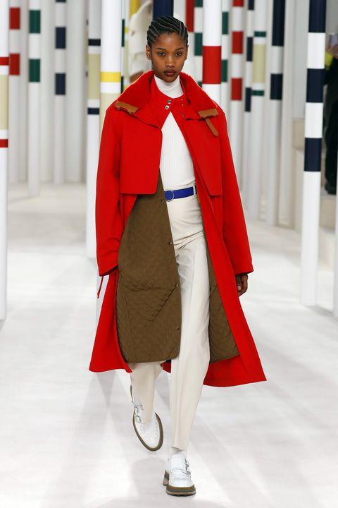 Fashion, Clothing, Red, Outerwear, Runway, Fashion show, Coat, Street fashion, Fashion design, Fashion model,