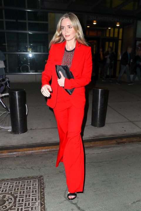 Clothing, Red, Pantsuit, Suit, Street fashion, Fashion, Outerwear, Formal wear, Fashion design, Haute couture,