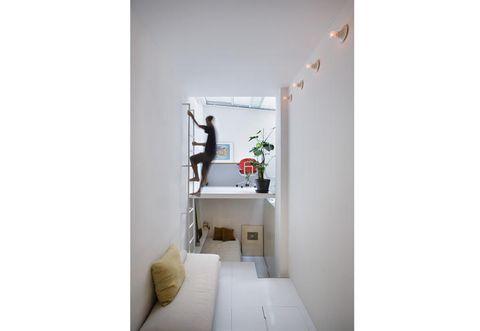Room, Interior design, Wall, White, Ceiling, Floor, Home, Grey, Interior design, Bed,