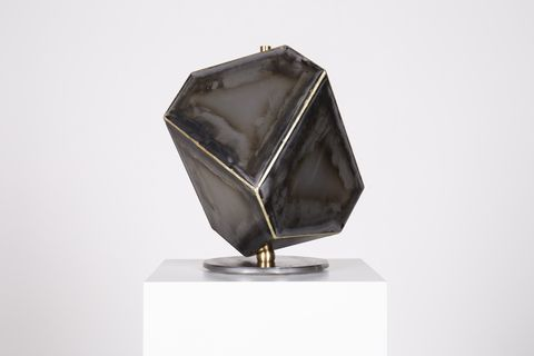 Mineral, Sculpture, Crystal, Fashion accessory, Rock, Metal,