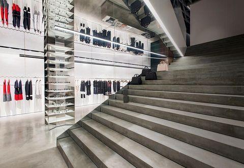 Stairs, Floor, Interior design, Line, Flooring, Ceiling, Carmine, Parallel, Handrail, Composite material,