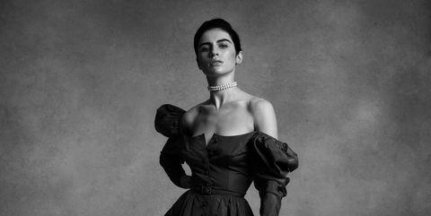 Black, Photograph, Standing, Fashion, Dress, Retro style, Beauty, Black-and-white, Fashion model, Monochrome photography,