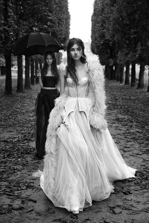 White, Photograph, Black, Dress, Clothing, Gown, Fashion, Beauty, Black-and-white, Standing,