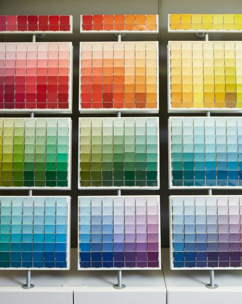paint chip aisle at Sherwin Williams in New York City