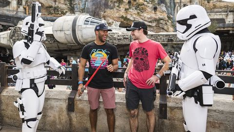 NASCAR Cup Series drivers Ryan Blaney and Bubba Wallace visit Star Wars: Galaxy's Edge