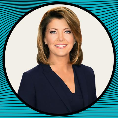 Electric blue, Smile, Newsreader, Television presenter,