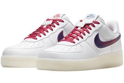 Shoe, Footwear, White, Sneakers, Outdoor shoe, Walking shoe, Red, Carmine, Sportswear, Athletic shoe,