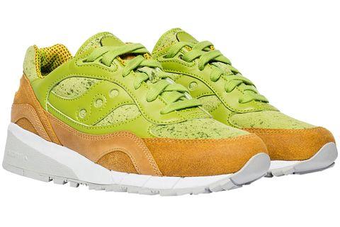 Shoe, Footwear, Outdoor shoe, Sneakers, Green, Walking shoe, White, Running shoe, Orange, Sportswear,